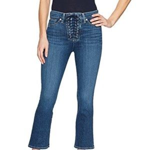 Hudson the bullock high rise cropped lace up Jeans